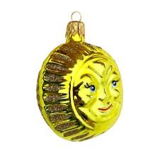 "Bright Yellow Sun Ornament ~ Czech Republic ~ 2-1/2"" tall"