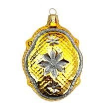 """Golden Quilted Fantasy Shape Blown Glass Ornament ~ Czech Republic ~ 3-1/4"""" tall"""