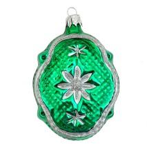 "Green Quilted Fantasy Shape Blown Glass Ornament ~ Czech Republic ~ 3-1/4"" tall"