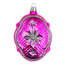 "Hot Pink Quilted Fantasy Shape Blown Glass Ornament ~ Czech Republic ~ 3-1/4"" tall"