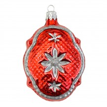 """Red Quilted Fantasy Shape Blown Glass Ornament ~ Czech Republic ~ 3-1/4"""" tall"""