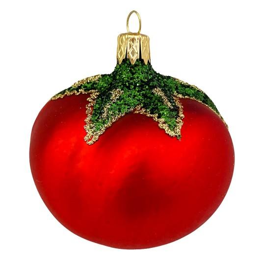 "Large Tomato Blown Glass Pickle Ornament ~ Czech Republic ~ 2-1/4"""