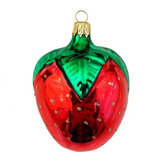 "Large Strawberry Blown Glass Ornament ~ Czech Republic ~ 2-1/2"" long"