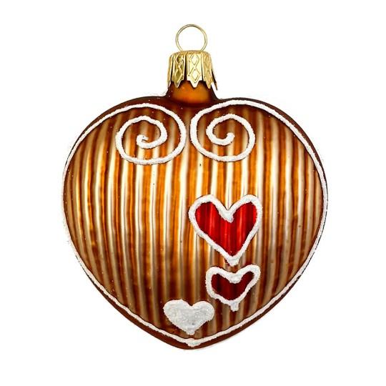 """Gingerbread Heart Christmas Ornament ~ Czech Republic ~ 2-5/8"""" tall"""