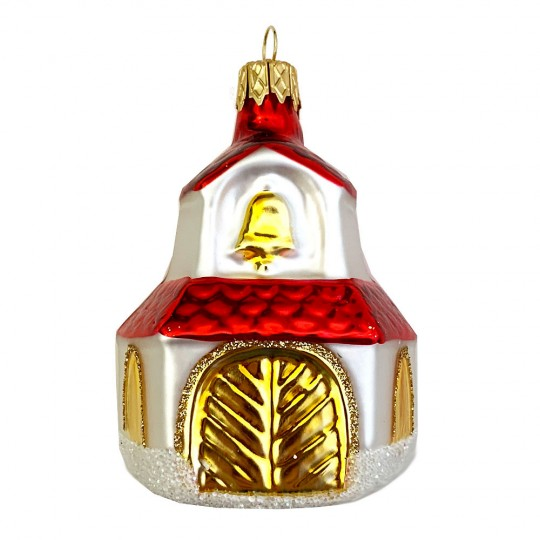 """Church with Bell Blown Glass Ornament ~ Czech Republic ~ 2-3/4"""" tall"""