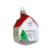 "Petite Classic House Blown Glass Ornament ~ Czech Republic ~ 2"" tall"
