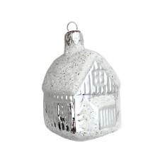 "Petite Classic Snowy House Blown Glass Ornament ~ Czech Republic ~ 2"" tall"