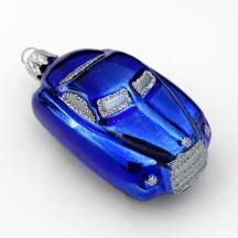 "Glossy Blue Car Blown Glass Ornament ~ Czech Republic ~ 2-5/8"" long"