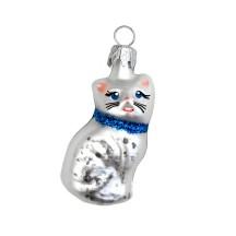 """Mini Blown Glass Cat Ornament ~ Czech Republic ~ 2"""" tall"""