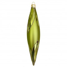 "Chartreuse Green Retro Drop Glass Ornament ~ Czech Republic ~ 5-1/8"" long"