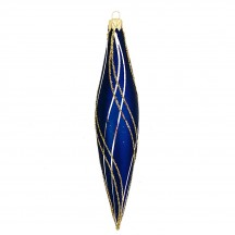 "Navy Retro Drop Glass Ornament ~ Czech Republic ~ 5-1/8"" long"