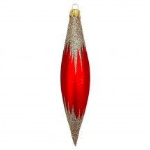 "Red Retro Drop Glass Ornament ~ Czech Republic ~ 5-1/8"" long"