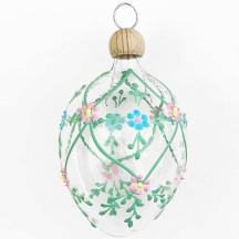 """Clear Egg with Flower Trellis Blown Glass Ornament ~ Czech Republic ~ 2-1/2"""" tall"""