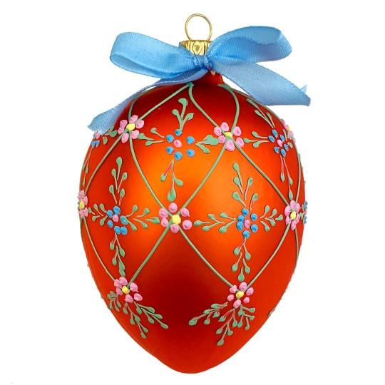 "XL Folkloric Orange Egg with Flowers Blown Glass Ornament ~ Czech Republic ~ 3-3/4"" tall"