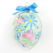 """XL Folkloric Clear Egg with Flowers Blown Glass Ornament ~ Czech Republic ~ 3-3/4"""" tall"""