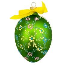"XL Folkloric Green Egg with Flowers Blown Glass Ornament ~ Czech Republic ~ 3-3/4"" tall"