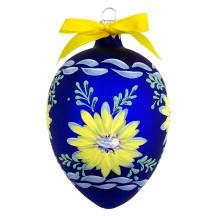 "XL Folkloric Blue Egg with Flowers Blown Glass Ornament ~ Czech Republic ~ 3-3/4"" tall"