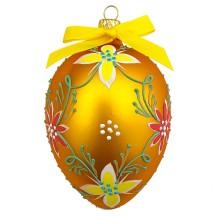 "XL Folkloric Goldenrod Egg with Flowers Blown Glass Ornament ~ Czech Republic ~ 3-3/4"" tall"