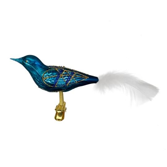 """Matte Teal Blue Blown Glass Clipping Bird Ornament ~ Czech Republic ~ 7-1/2"""" long"""