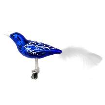 """Glossy Blue Blown Glass Clipping Bird Ornament ~ Czech Republic ~ 6"""" long"""
