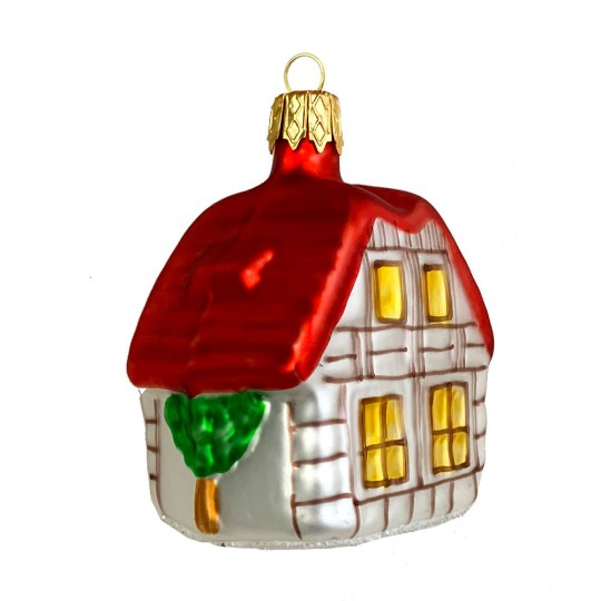"Half-Timbered House Glass Ornament ~ Czech Republic ~ 2-1/2"" tall"