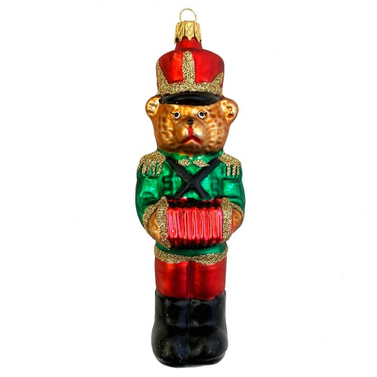 """Musician Bear with Accordion and Green Jacket Glass Ornament ~ Czech Republic ~ 5"""" tall"""