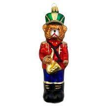 """Musician Bear with Saxophone Glass Ornament ~ Czech Republic ~ 5"""" tall"""