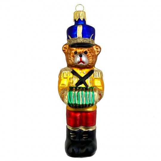 "Musician Bear with Accordion Glass Ornament ~ Czech Republic ~ 5"" tall"