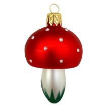 """Classic Blown Glass Mushroom Ornament ~ Czech Repub. ~ 2-1/2"""" tall"""