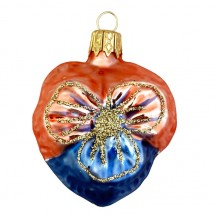 "Petite Blown Glass Blue and Orange Pansy Ornament ~ Czech Republic ~ 2"" tall"