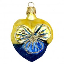 "Petite Blown Glass Blue and Yellow Pansy Ornament ~ Czech Republic ~ 2"" tall"