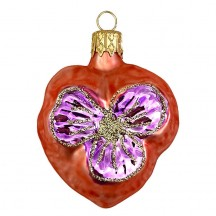 "Petite Blown Glass Orange Pansy Ornament ~ Czech Republic ~ 2"" tall"
