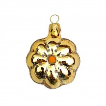 """Small Gold Flower Ornament ~ Czech Republic ~ 2"""" tall"""