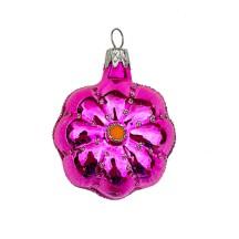 """Small Hot Pink Flower Ornament ~ Czech Republic ~ 2"""" tall"""