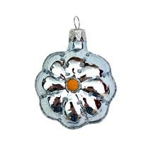 """Small Light Blue Flower Ornament ~ Czech Republic ~ 2"""" tall"""