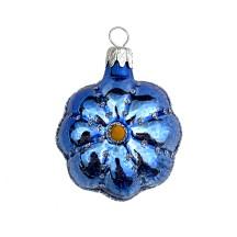 """Small Blue Flower Ornament ~ Czech Republic ~ 2"""" tall"""