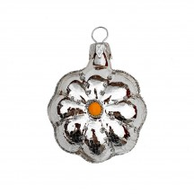 """Small Silver Flower Ornament ~ Czech Republic ~ 2"""" tall"""