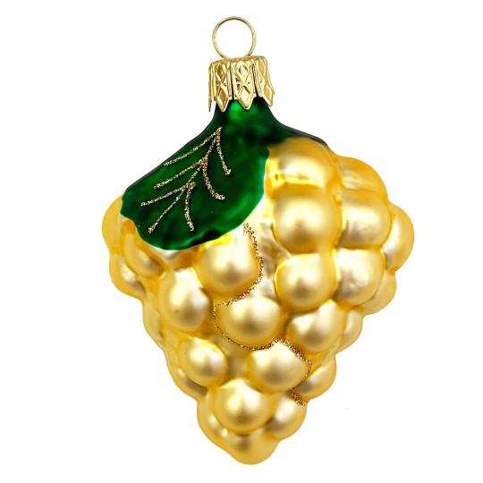 "Matte Yellow Grapes Blown Glass Ornament ~ Czech Republic ~ 3-1/4"" long"