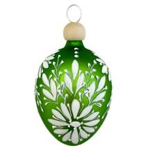 "Green Egg with White Flowers Blown Glass Ornament ~ Czech Republic ~ 2-1/2"" tall"