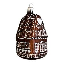 """Dark Gingerbread House Christmas Ornament ~ Czech Republic ~ 3-3/4"""" tall"""