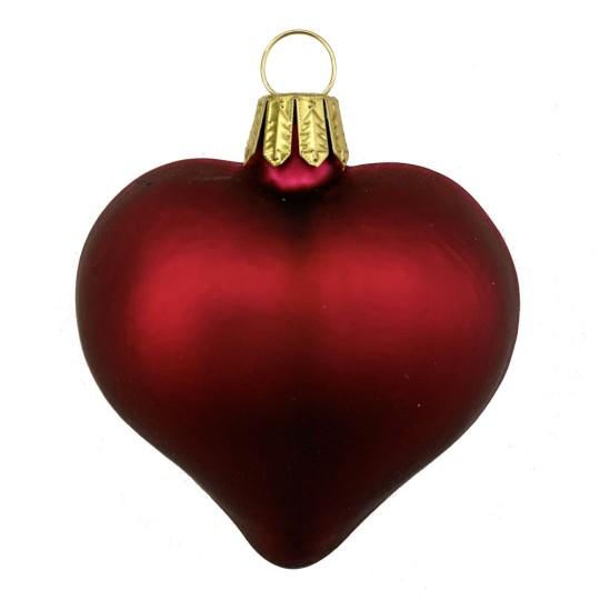 "Matte Burgundy Blown Glass Heart Ornament ~ Germany ~ 2-1/2"" long"