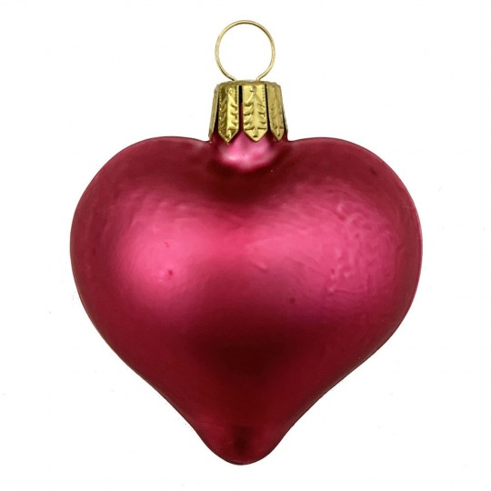 "Matte Dark Pink Blown Glass Heart Ornament ~ Germany ~ 2-1/2"" long"