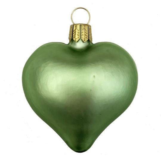 "Matte Lime Green Blown Glass Heart Ornament ~ Germany ~ 2-1/2"" long"