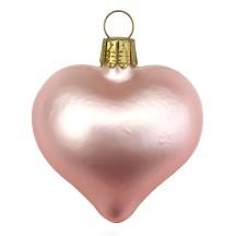 "Matte Pink Blown Glass Heart Ornament ~ Germany ~ 2-1/2"" long"