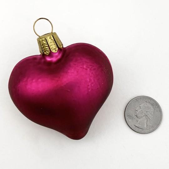 "Matte Magenta Blown Glass Heart Ornament ~ Germany ~ 2-1/2"" long"