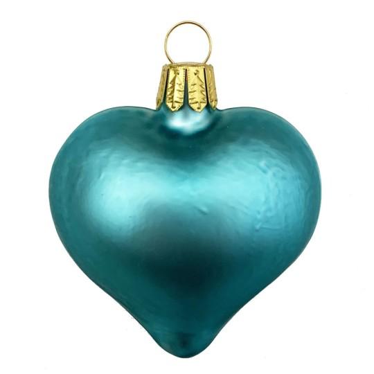 "Matte Blue Blown Glass Heart Ornament ~ Germany ~ 2-1/2"" long"