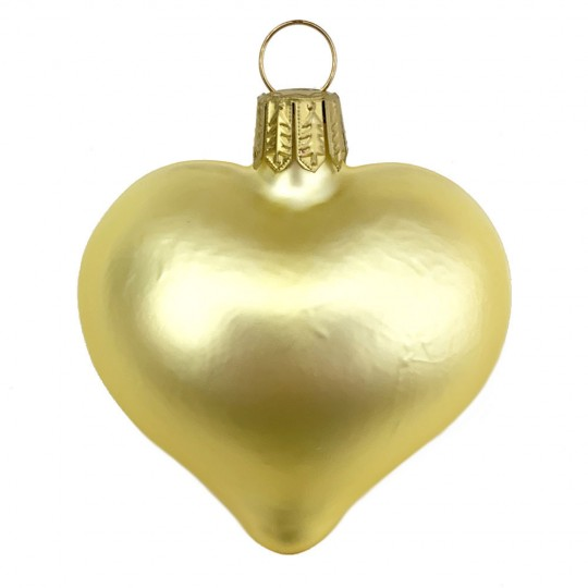 "Matte Yellow Blown Glass Heart Ornament ~ Germany ~ 2-1/2"" long"