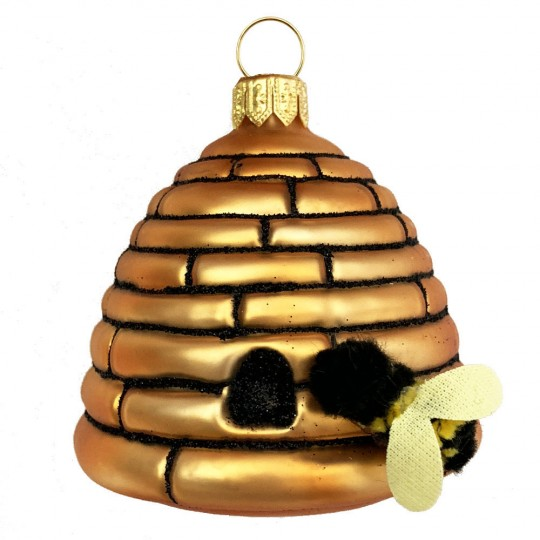 """Bee Hive with Bee Blown Glass Ornament ~ Poland ~ 2-5/8"""" tall"""