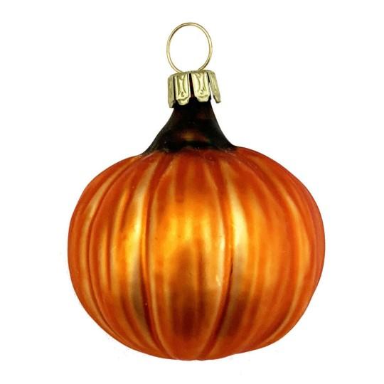 """Orange Pumpkin Blown Glass Ornament ~ Germany ~ 1-3/4"""" tall"""