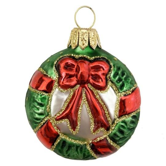 "Christmas Wreath Blown Glass Ornament ~ Poland ~ 2-1/4"" long"